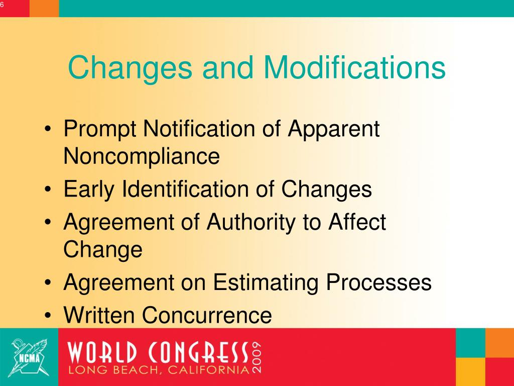 Changes and Modifications