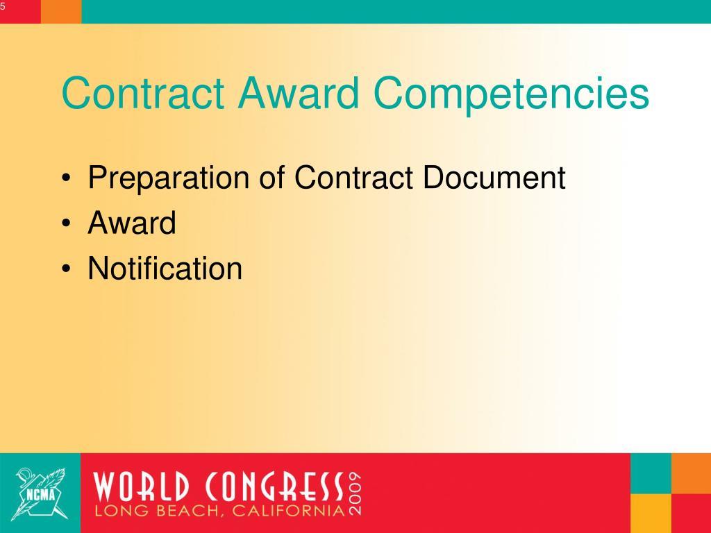 Contract Award Competencies