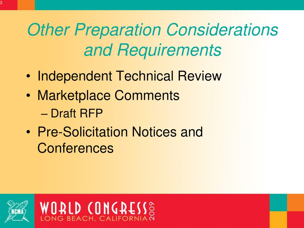 Other Preparation Considerations and Requirements