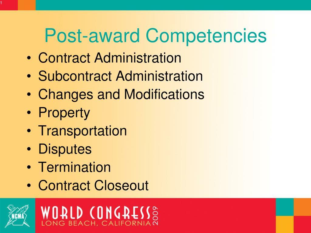 Post-award Competencies