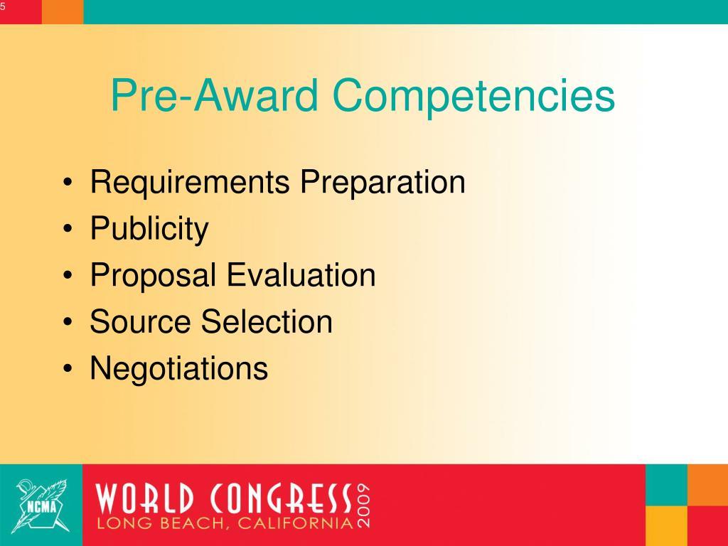 Pre-Award Competencies