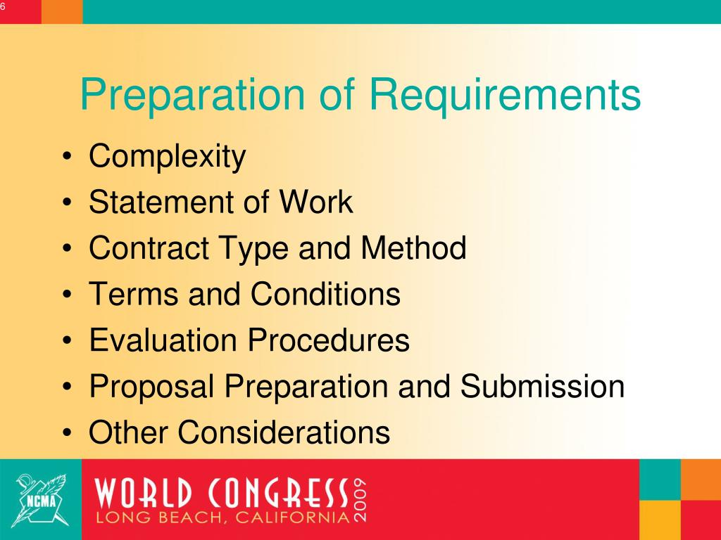 Preparation of Requirements