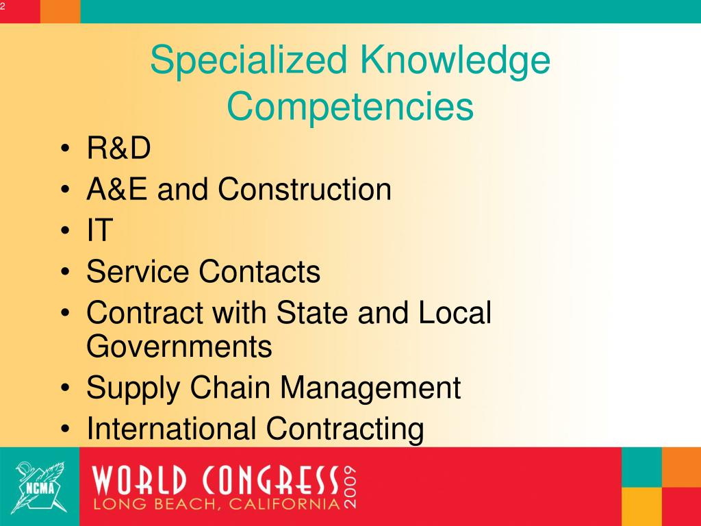 Specialized Knowledge Competencies