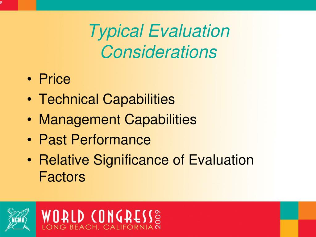 Typical Evaluation Considerations