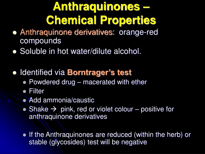 Negative Dilute Drug Test >> PPT - Anthraquinone Glycosides PowerPoint Presentation - ID:1462959