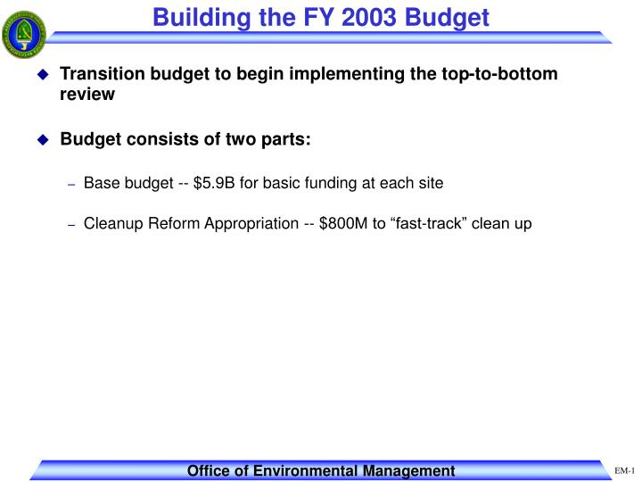 Building the fy 2003 budget