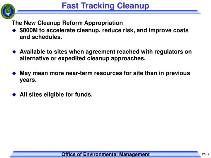Fast Tracking Cleanup