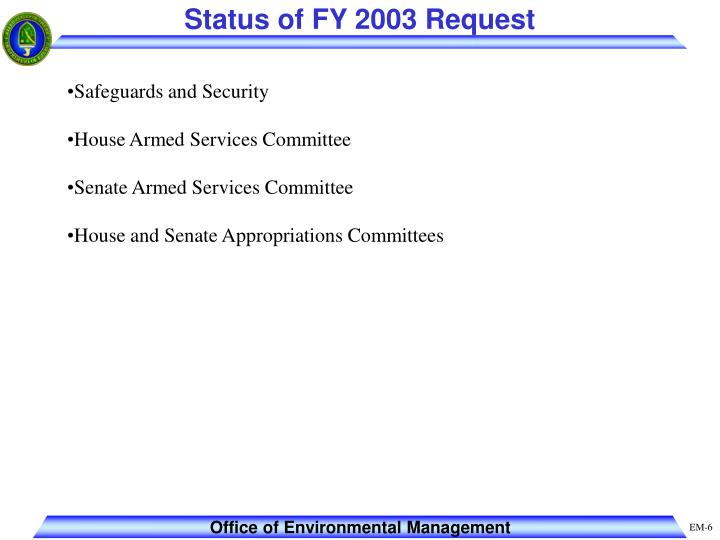 Status of FY 2003 Request