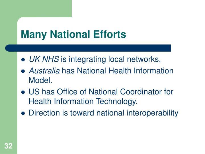 Many National Efforts