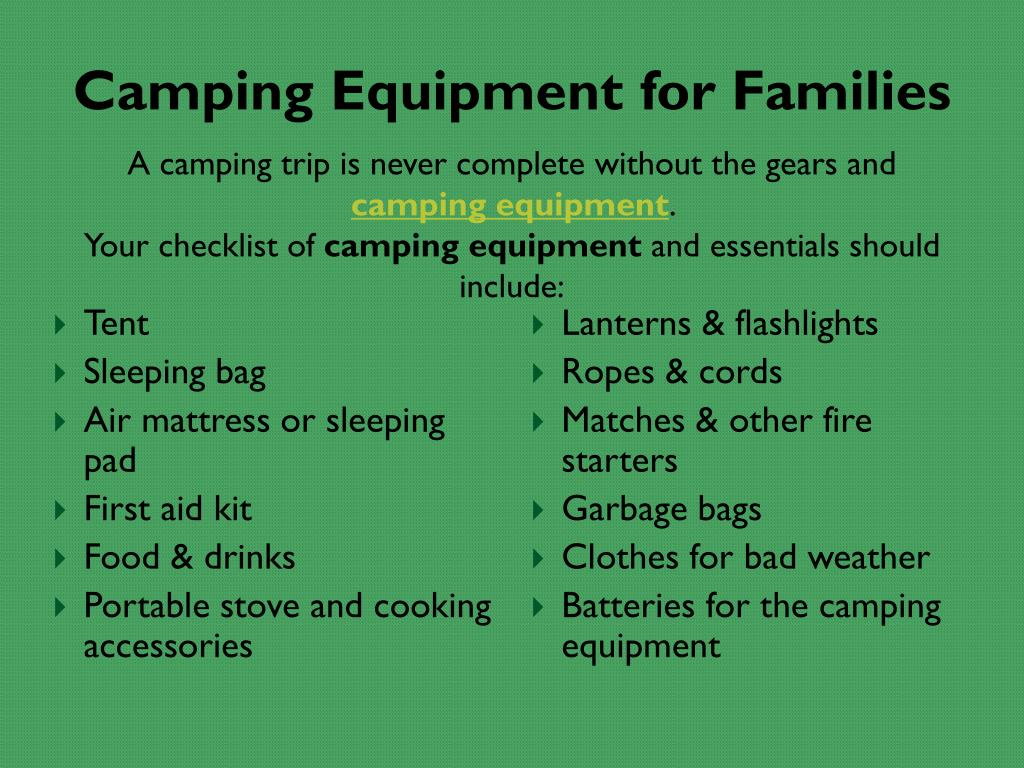 Camping Equipment for Families