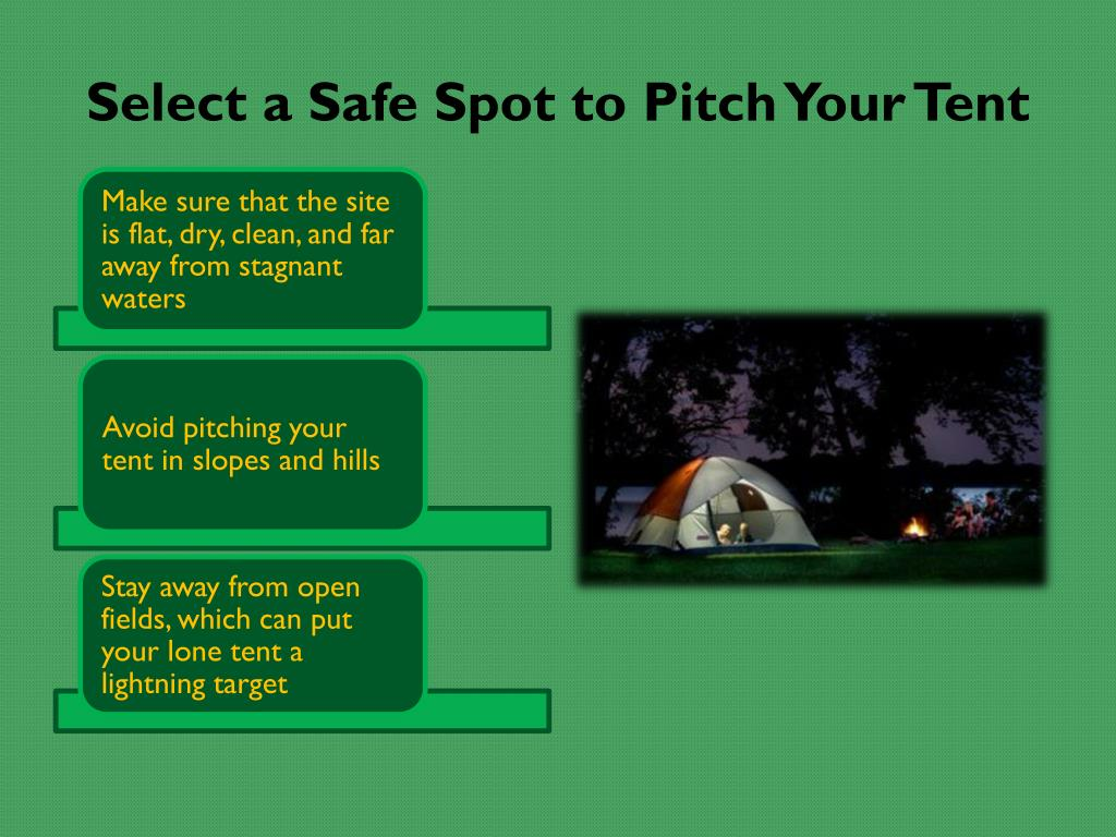 Select a Safe Spot to Pitch Your Tent