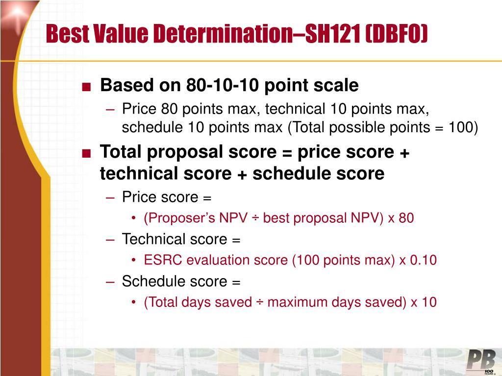 Best Value Determination–SH121 (DBFO)