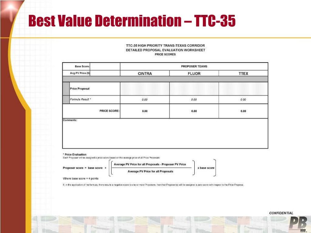Best Value Determination – TTC-35