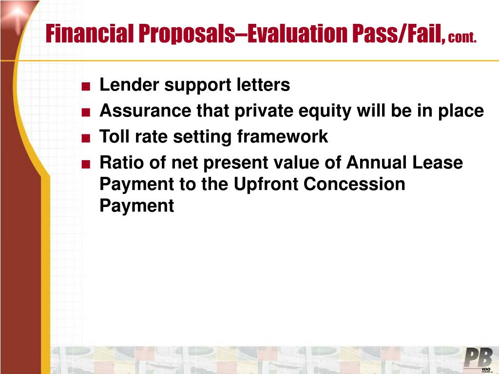 Financial Proposals–Evaluation Pass/Fail,