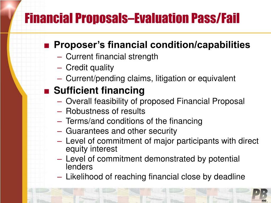 Financial Proposals–Evaluation Pass/Fail