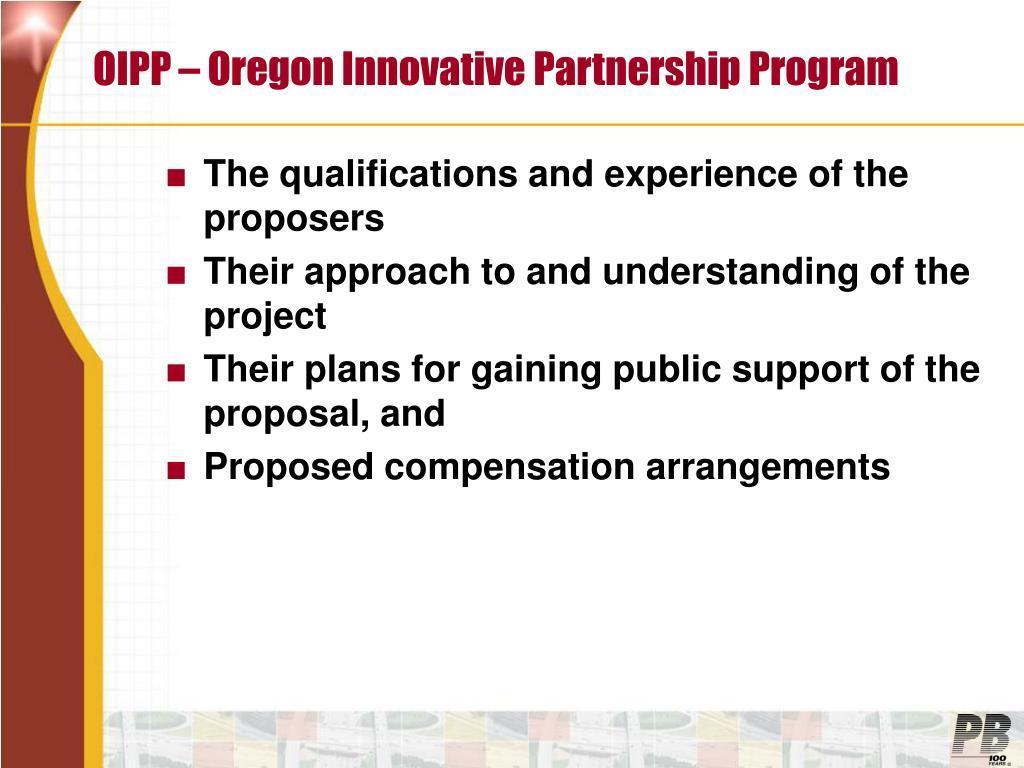 OIPP – Oregon Innovative Partnership Program