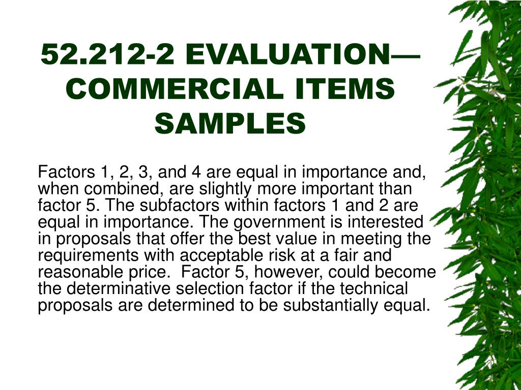 52.212-2 EVALUATION—COMMERCIAL ITEMS