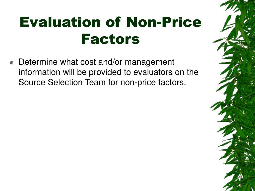Evaluation of Non-Price Factors