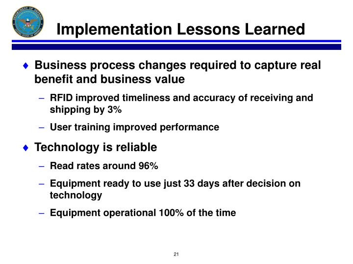 Implementation Lessons Learned