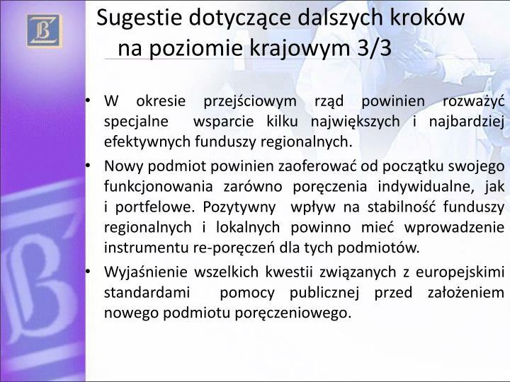 Sugestie dotyczące dalszych kroków na poziomie krajowym 3/3