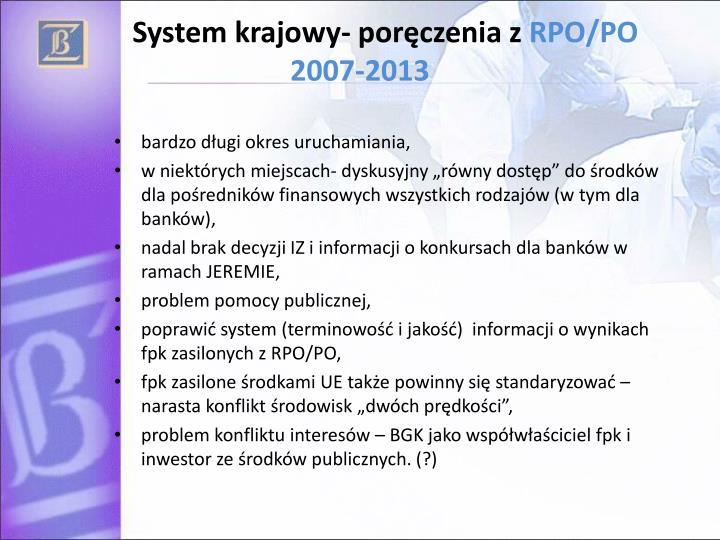 System krajowy- poręczenia z