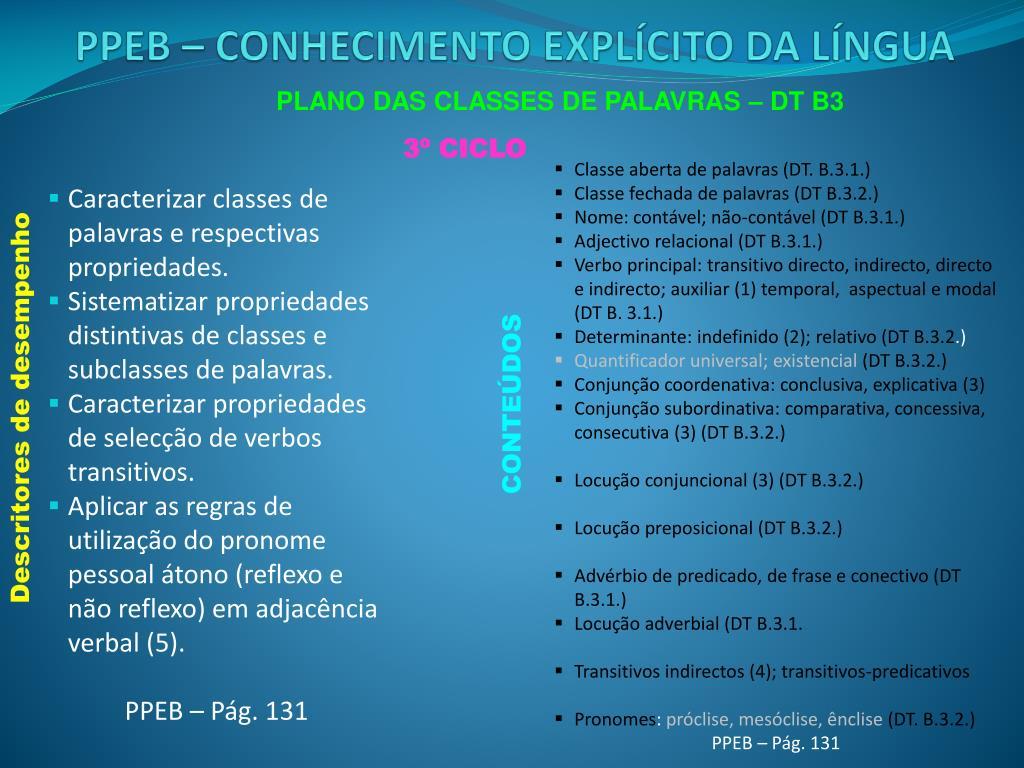 PLANO DAS CLASSES DE PALAVRAS – DT B3