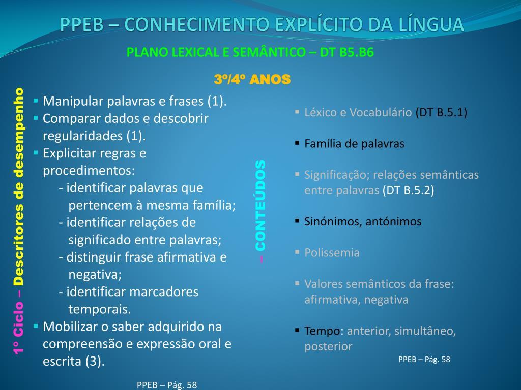 PLANO LEXICAL E SEMÂNTICO – DT B5.B6