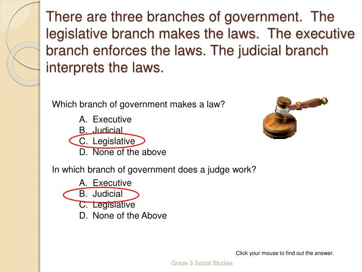 There are three branches of government.  The legislative branch makes the laws.  The executive branch enforces the laws. The judicial branch interprets the laws.