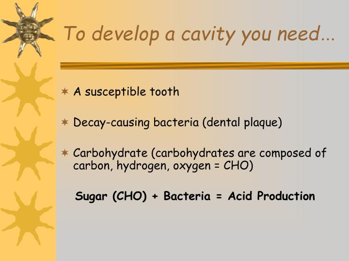 To develop a cavity you need