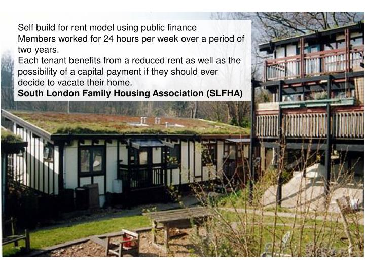 Self build for rent model using public finance