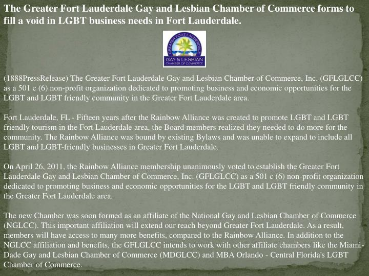 The Greater Fort Lauderdale Gay and Lesbian Chamber of Commerce forms to fill a void in LGBT busines...