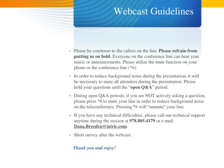 Webcast guidelines