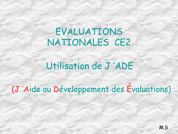 EVALUATIONS NATIONALES  CE2