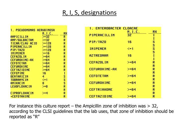R, I, S, designations