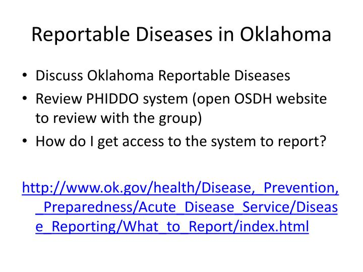 Reportable Diseases in Oklahoma