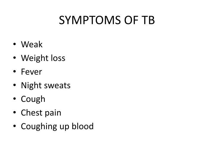 SYMPTOMS OF TB