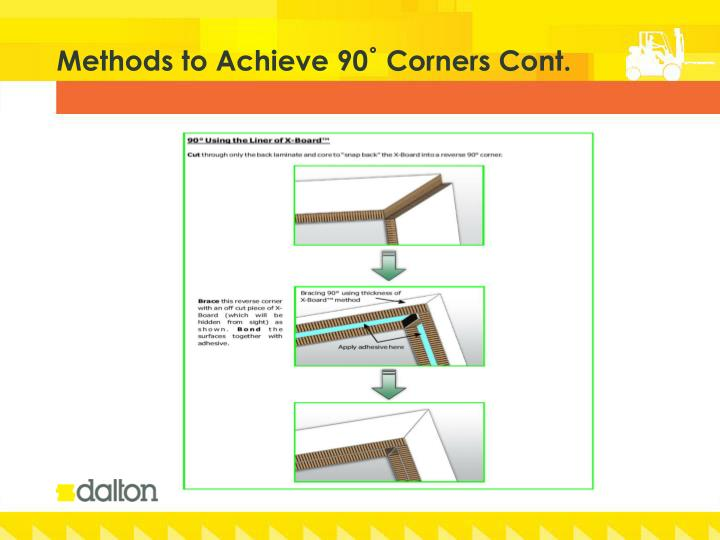 Methods to Achieve 90˚ Corners Cont.