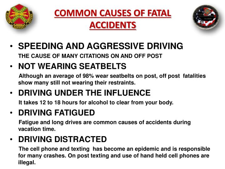 COMMON CAUSES OF FATAL ACCIDENTS