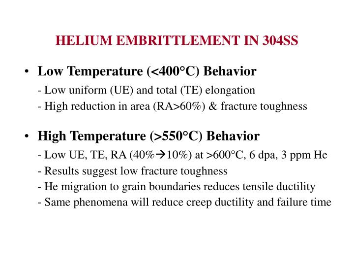 HELIUM EMBRITTLEMENT IN 304SS