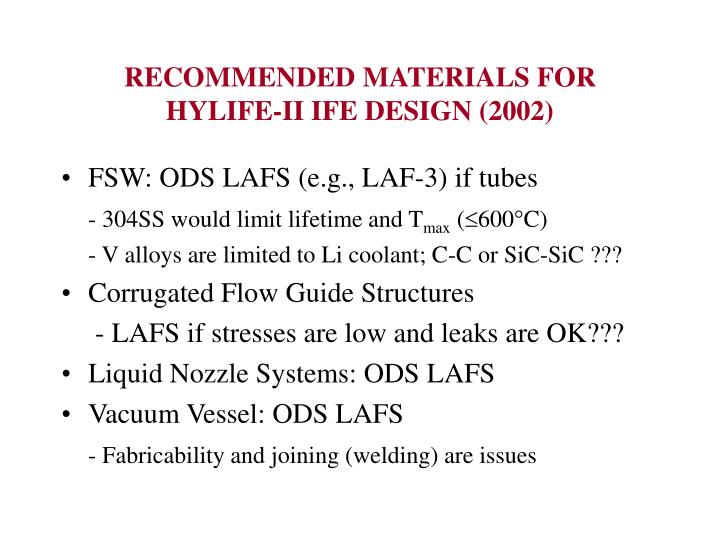 RECOMMENDED MATERIALS FOR