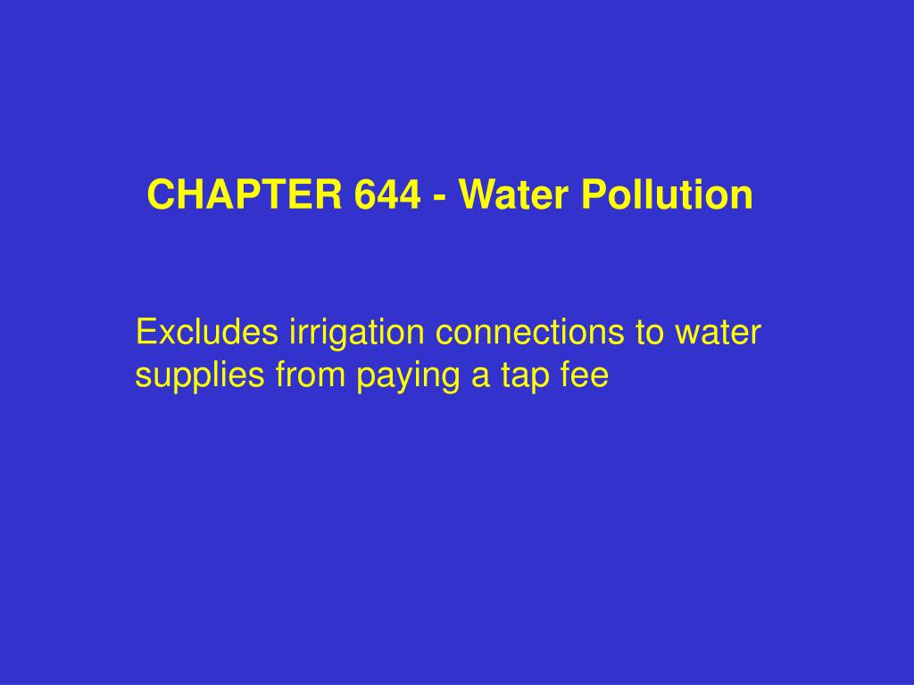 CHAPTER 644 - Water Pollution