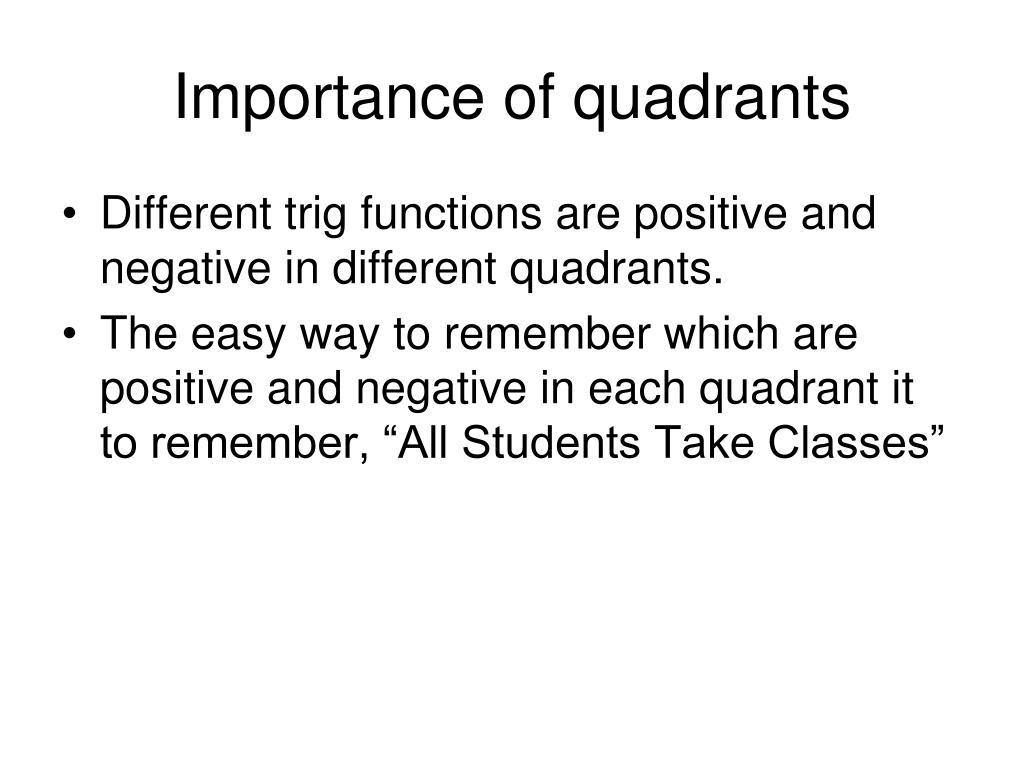 Importance of quadrants