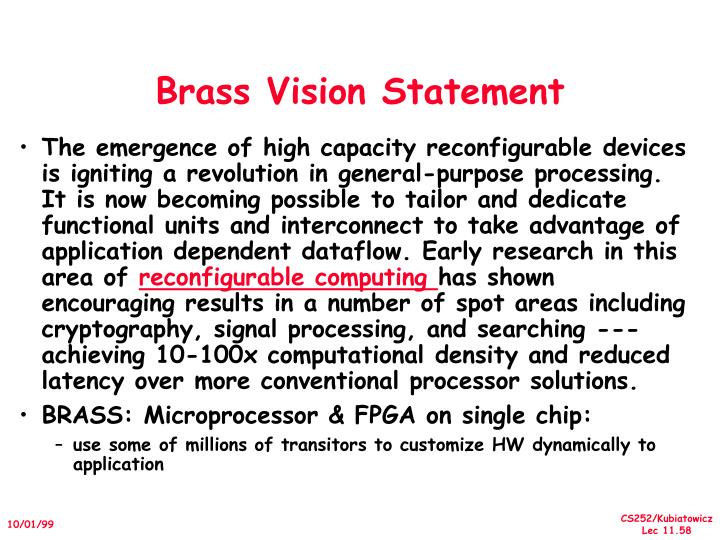Brass Vision Statement