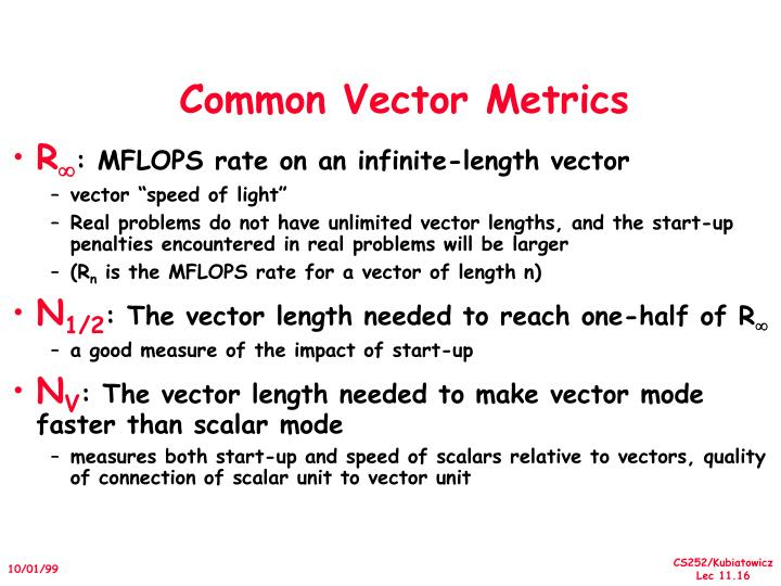 Common Vector Metrics