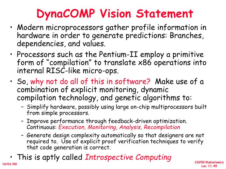 DynaCOMP Vision Statement