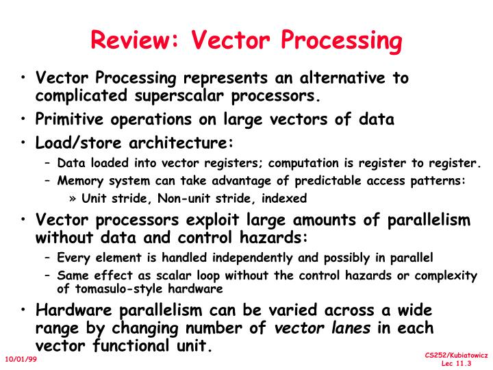 Review vector processing