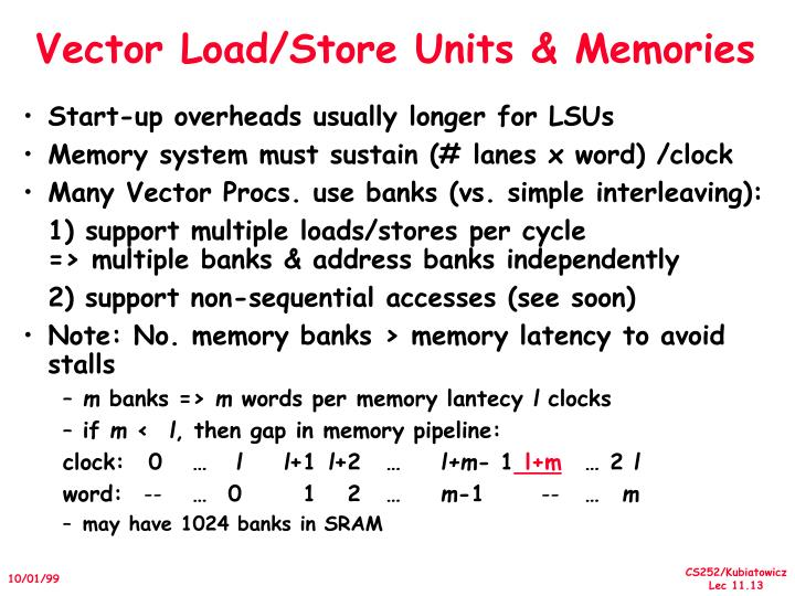 Vector Load/Store Units & Memories