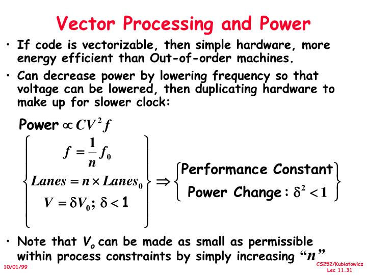 Vector Processing and Power