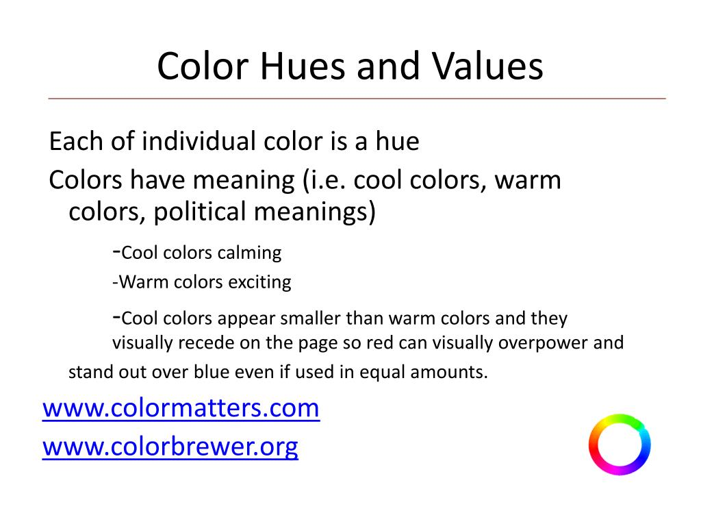 Color Hues and Values