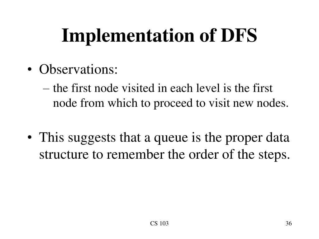 Implementation of DFS